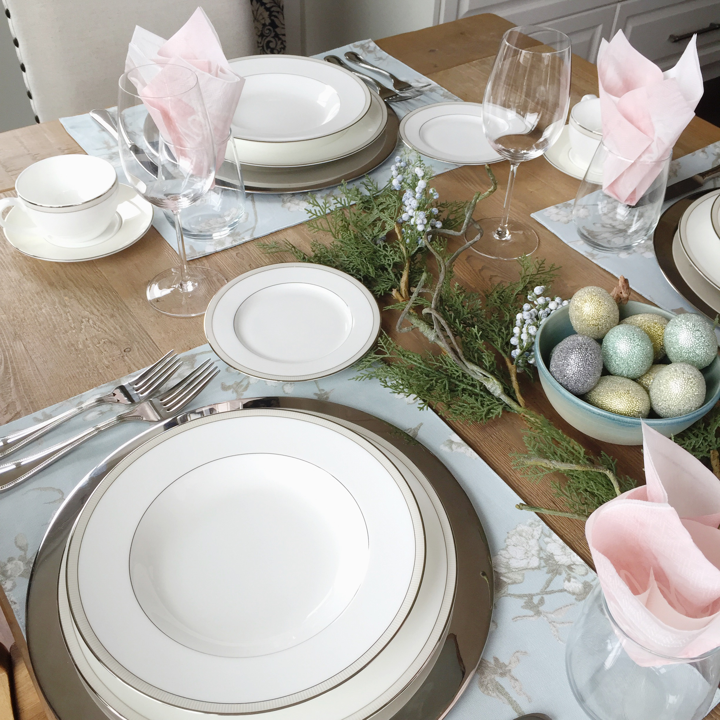Easter Brunch Table Details Calvin Klein Wild Blossom Placemats u2013 HomeSense ($19.99 CAD) // CANVAS Cedar Blueberry Garland u2013 Canadian Tire // Stainless ... & 5 Easy Decorating Tips for Spring - The Shop Guide